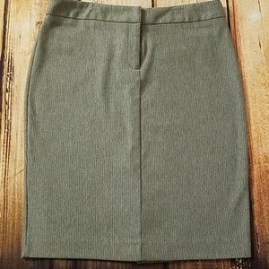 New York & Company Grey/White Pinstripe Skirt- M